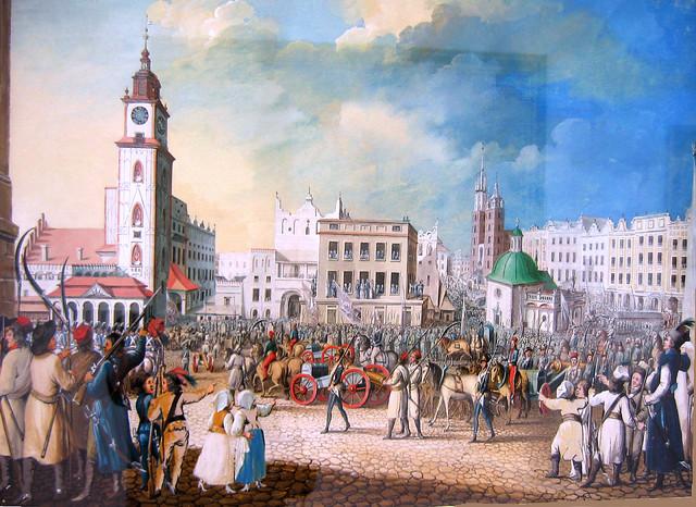 Pokazywanie zdobycznych armat w Krakowie