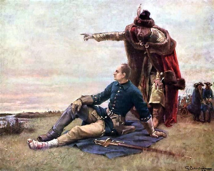 Wounded Charles XII of Sweden and Ivan Mazepa
