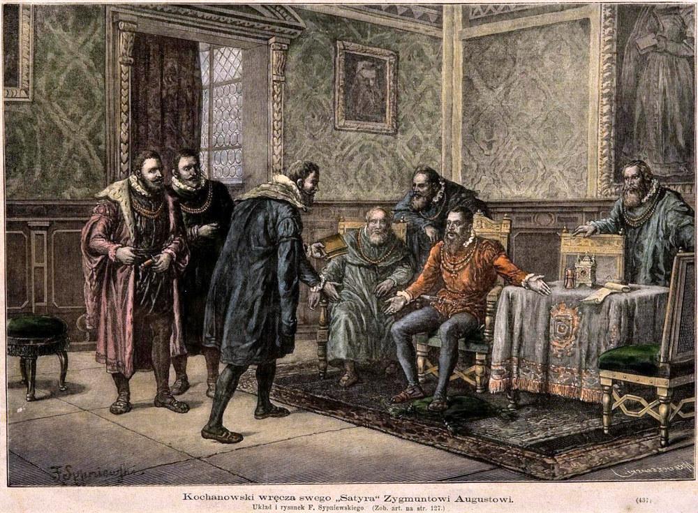 Jan Kochanowski hands a poem to the king Sigismundus Augustus