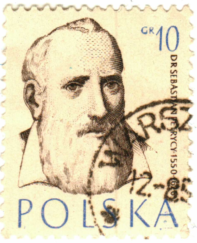 A 10 groszy stamp with the bearded Dr. Sebastian Petrycy